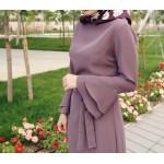 Mor Kolu Volanlı Elbise - www.aysenuryelken.com