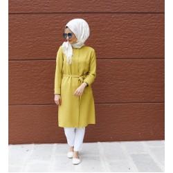 Sari ve Bej Desenli Tunik - Özel Tasarım