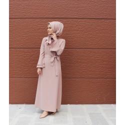 Pembe Kolu Volanlı Elbise - www.aysenuryelken.com